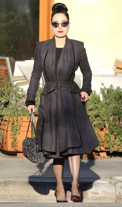 3 Dita Von Teese wearing Burberry in Los Angeles 12th January 2013