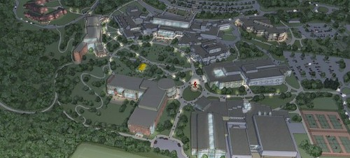 evening view, SUNY college at Old Westbury, master plan (courtesy of Goody Clancy Planning)
