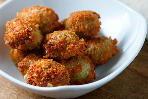 Four seasons of food: Fried olives stuffed with goat cheese