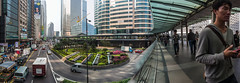 """中環行人天橋 Pedestrian Footbridge in Central"" / 香港人流全景攝影 Hong Kong Human Logistics Panoramic Photography / SML.20130315.EOSM.03319-SML.20130315.EOSM.03325-Pano.Cylindrical.174x72"