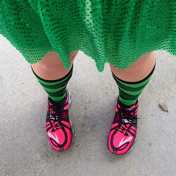 No race for me today. But that doesn't mean that I can't do my training run in a green @runTeamSparkle skirt and fun socks? This is kind of an anniversary run of an anniversary run for me! #teamsparkle
