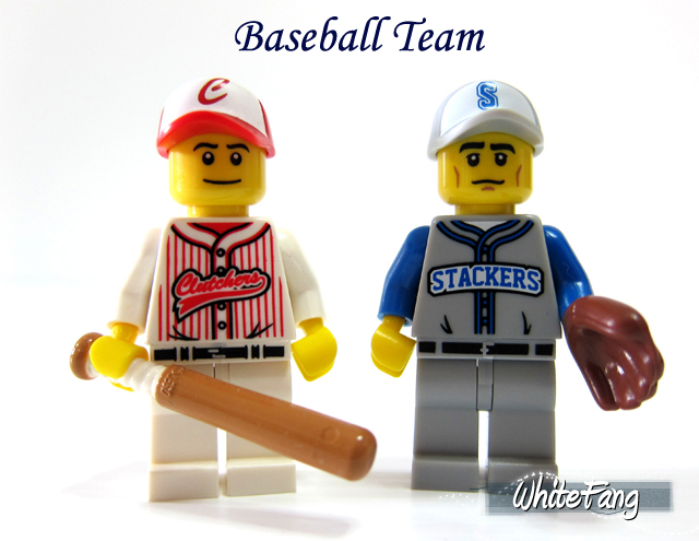 Genuine Lego Minifigures Series 3 baseball player red white minifig clutchers