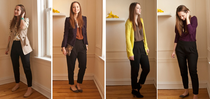 black pants remix, ways to wear black pants, creative work outfits, fun workwear, business casual, ootd, remixing, one piece four ways