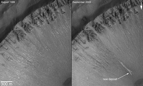 New Gully Deposit in a Crater in the Centauri Montes Region