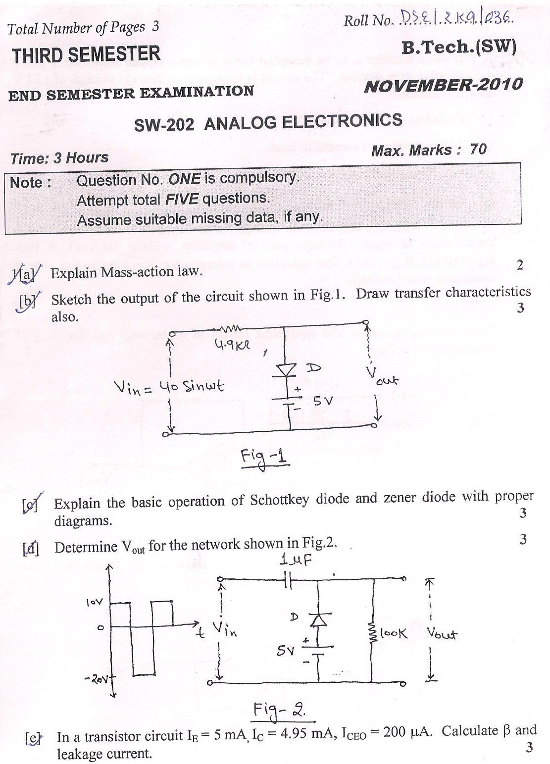 DTU Question Papers 2010 – 3 Semester - End Sem - SW-202