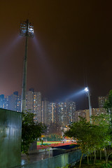 """夜雨明照 Stadium lights shine on a rainy night"" / 香港體育建築 Hong Kong Sports Architecture / SML.20130409.7D.37552"
