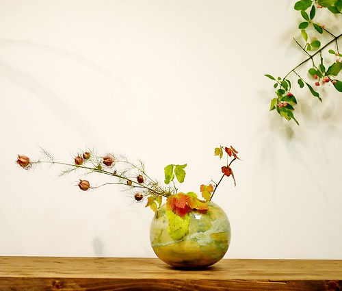 Small tabletop Japanese ikebana floral arrangement