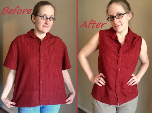 Sleeveless Blouse Refashion Before & After