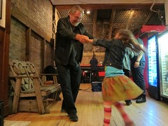Underground Press Reunion at Yippie Museum - Michael (Herald Tribune and White Panthers) dancing with his daughter Olivia2