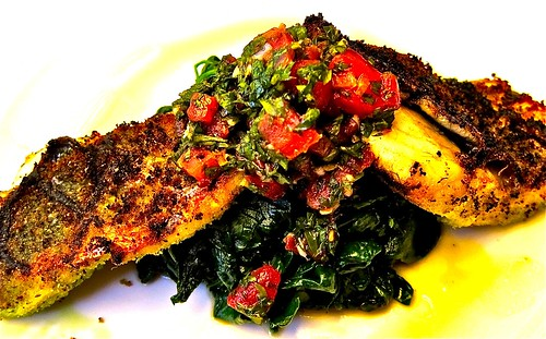 grilled branzino with spinach