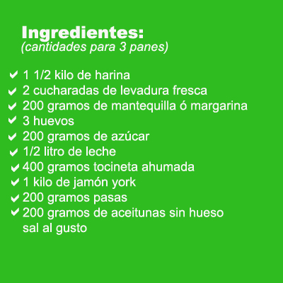 pan de jamon ingredientes