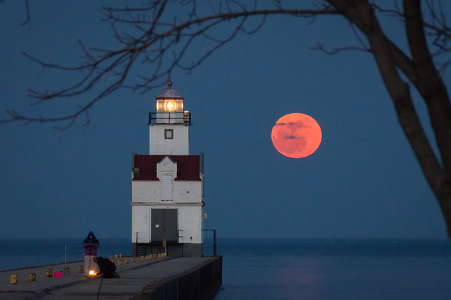 Full Moon, Lighthouse, Kewaunee, Wisconsin, Night, Evening, Lake Michigan