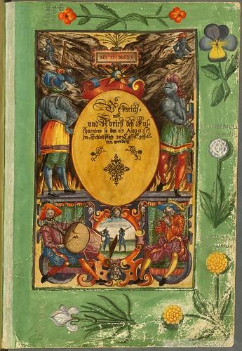 018-Portada de una de las cabalgatas-Descripción del bautismo de la dama Isabel de Hesse-1598-Biblioteca Estatal de Baviera