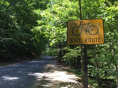 Old-school bike route sign