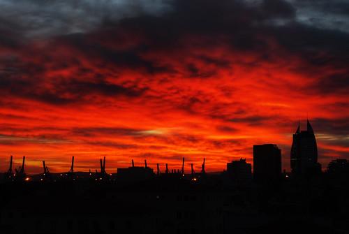 red sky orange tower silhouette clouds skyscraper port photoshop sunrise israel day cloudy no tripod beginning sail rocket haifa ישראל חיפה the מגדל זריחה joby gorillapod טיל מפרש המפרש