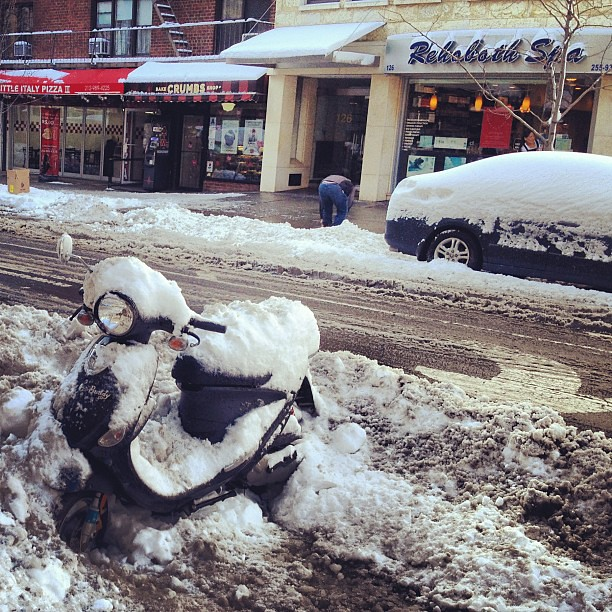 Vespa stuck in the snow post-Nemo