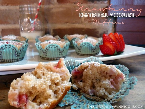 Strawberry Yogurt Oatmeal Muffins