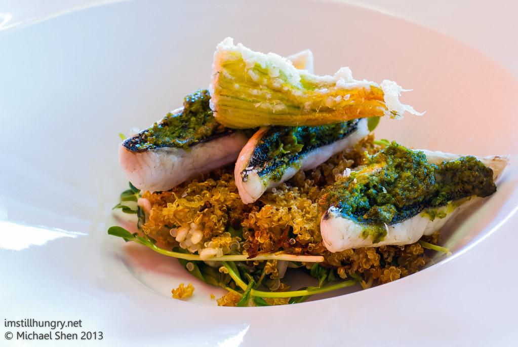 Universal - green chermoula baked rock flathead, zucchini flower fritter, quinoa, butter bean & green pea salad