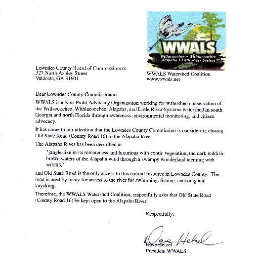 Signed letter from WWALS to Lowndes County Commission
