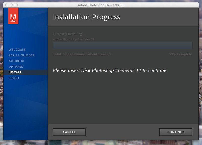 Adobe Photoshop Elements 11: Please insert Disk Photoshop Elements 11 to continue