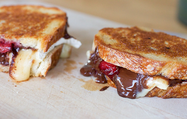 Roasted Strawberry Dark Chocolate Brie Grilled Cheese Sandwiches