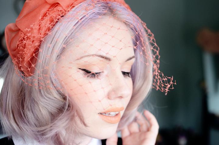 coral veil vintage hat h