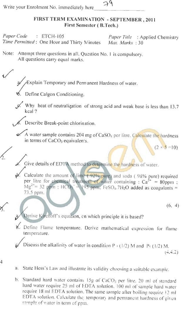GGSIPU Question Papers First Semester - First Term 2011 - ETCH-105