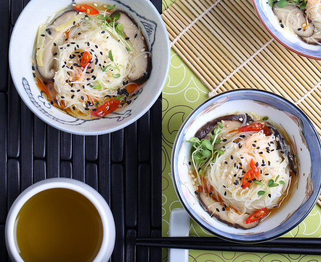 Maifun Noodles in a Toasted Sesame-Ginger Broth