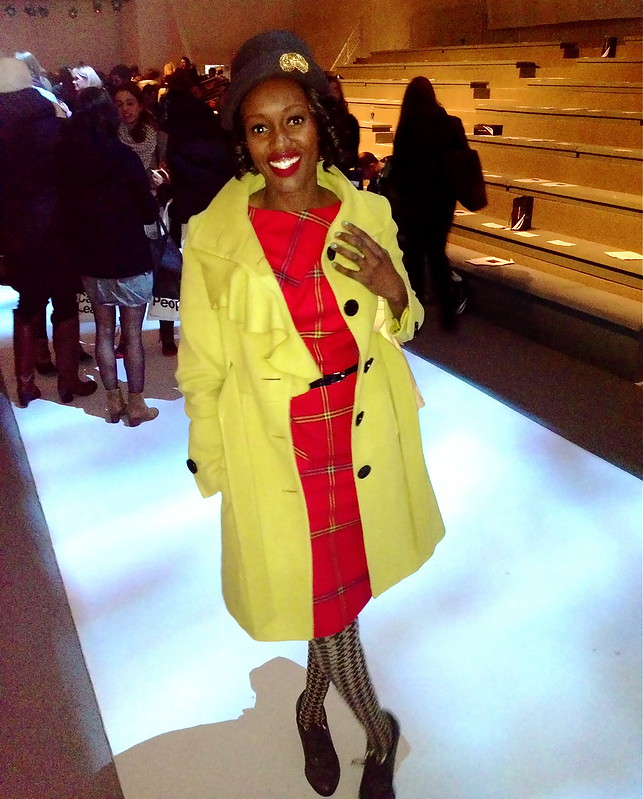 nyfw, red plaid dress, mustard coat, style for hire