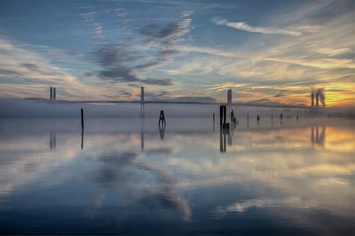 bridge fog sunrise goldenears