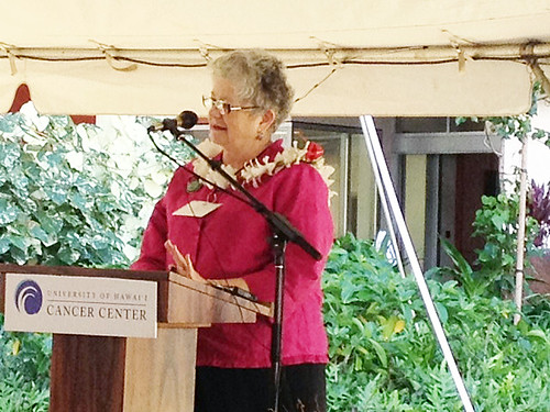 <p>University of Hawaii President M.R.C. Greenwood at the grand opening of the UH Cancer Center.</p>