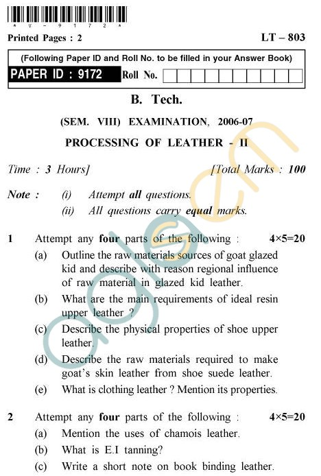 UPTU B.Tech Question Papers -LT-803 - Processing of Leather-II