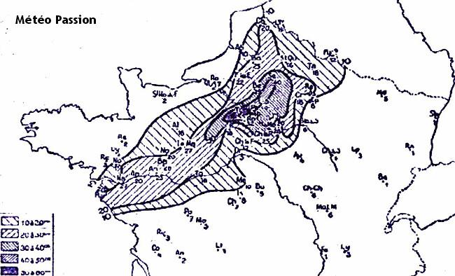 cartographie des épaisseurs de neige maximales début mars 1946 météopassion