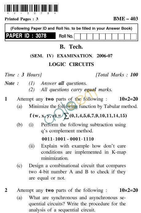 UPTU B.Tech Question Papers - BME-403-Logic Circuits