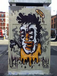 Clown Angel or Jesus Graffiti, Stevenson Square, Manchester, UK