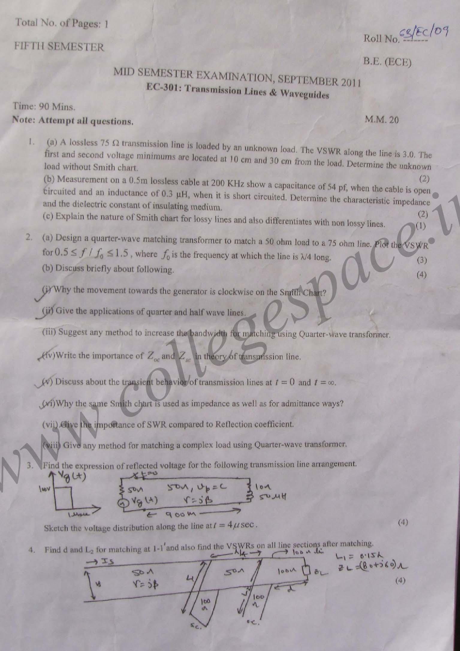 NSIT: Question Papers 2011 – 5 Semester - Mid Sem - EC-301