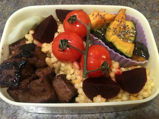 Gardein, pearl couscous, and roasted squash vegan bento