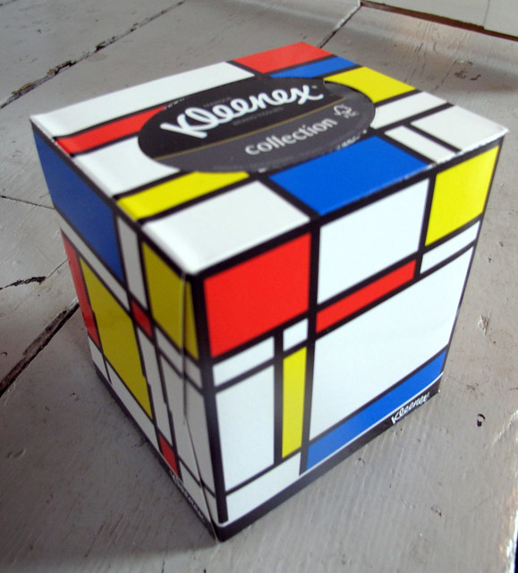 Mondrian tissue box created by Kleenex in 2013.