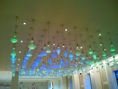 Coloured lights on ceiling of cafe at Wellcome Collection London