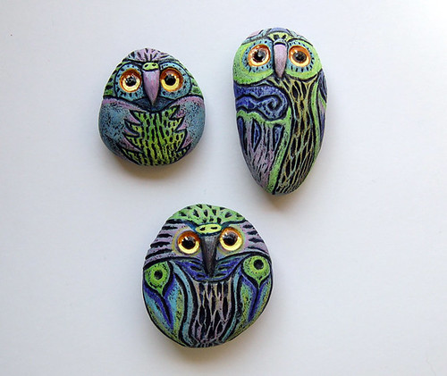 Owl stones..Sue Thomson/Livingstone Studio by livingstonestudio