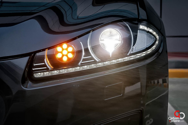 2013 Jaguar XFR front headlight detail.jpg
