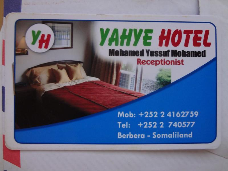Cartao de visita do Hotel Yaxiye em Berbera