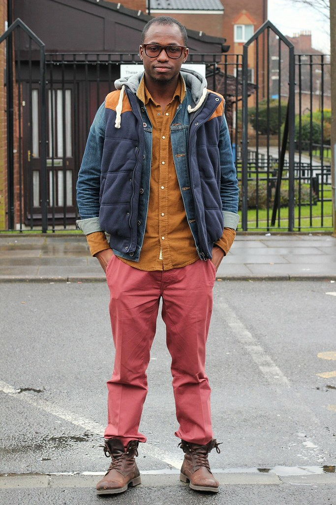denim jacket, men's vest jacket, jacket, chinos, coloured chinos, coloured pants