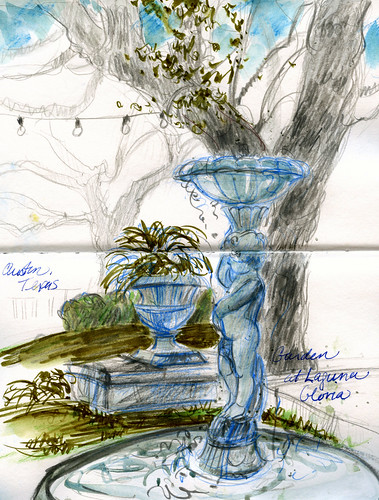 Austin sketches: Laguna Gloria fountain