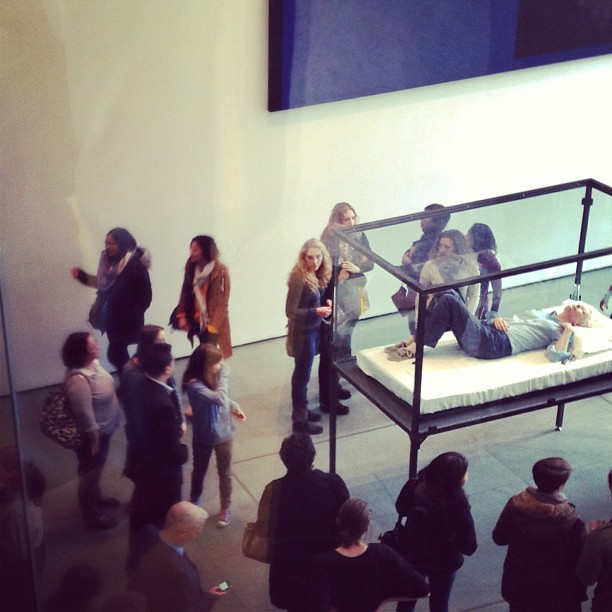 Tilda Swinton was sleeping in a glass box at MoMA!