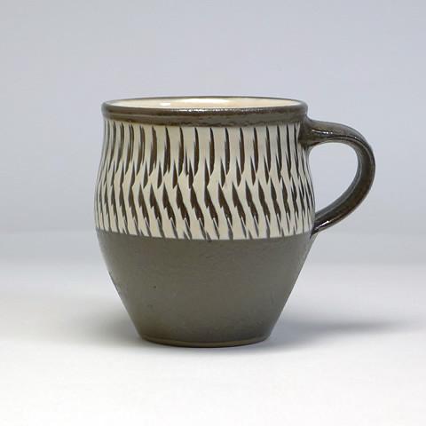 小鹿田焼 坂本浩二窯「マグカップ/帯トビ透明釉」