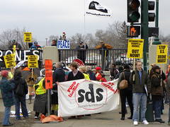 Students protesting US wars and military drone attacks