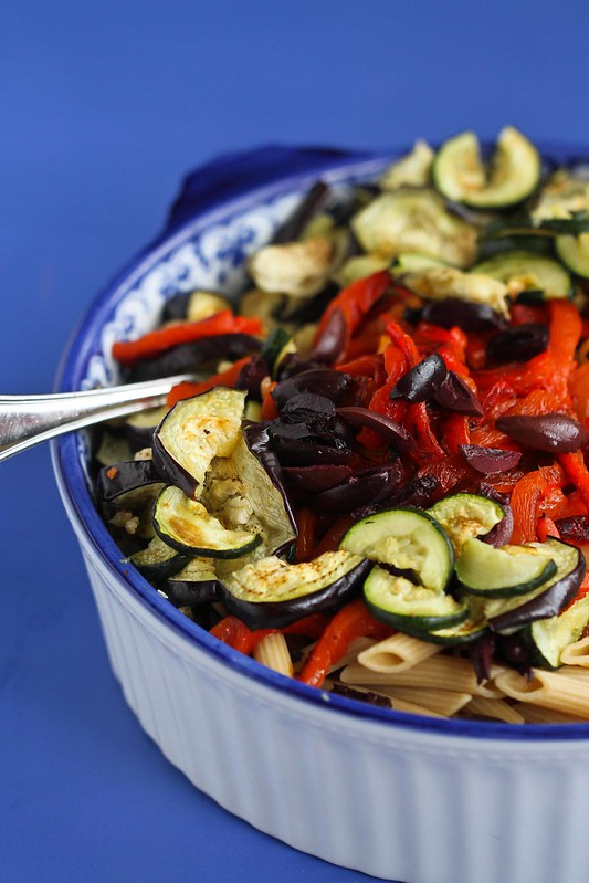 Roasted Vegetable Pasta Salad Recipe with Eggplant, Zucchini & Feta ...