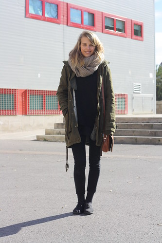 Black basics with green parka - The Style Collector