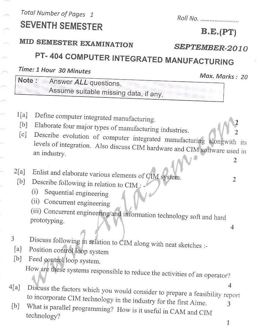 DTU Question Papers 2010 – 7 Semester - Mid Sem -  PT-404